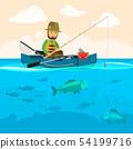 Fisherman on a boat vector illustration 54199716