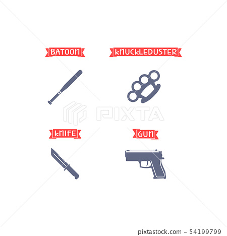Ammunition icons with signs 54199799