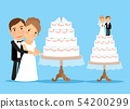 Wedding cake with bride and groom 54200299