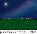 초원과 집과 밤하늘과 달의 경치 54201926