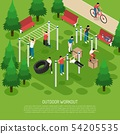 Workout In Park Isometric Illustration 54205535