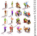 Elderly People Isometric Set 54205593