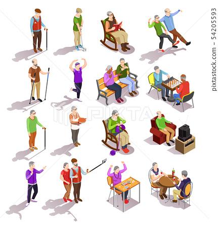 Elderly People Isometric Set 54205593