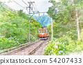[Watercolor style] Landscape of Hakone Tozan Railway and hydrangea 54207433