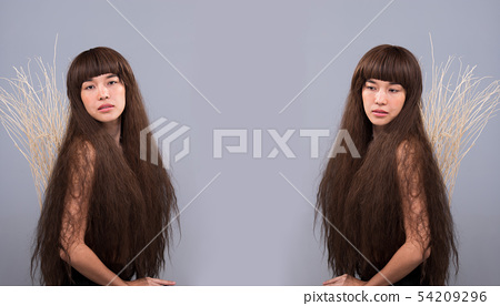 Hairy Girl portrait as lonely broken heart lady 54209296
