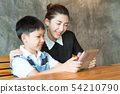 Asian,Woman and little boy sitting, playing tablet 54210790