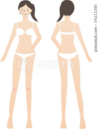 女性全身白色內衣 54211395