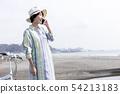 여성 인물 옆모습 스마트 폰 54213183