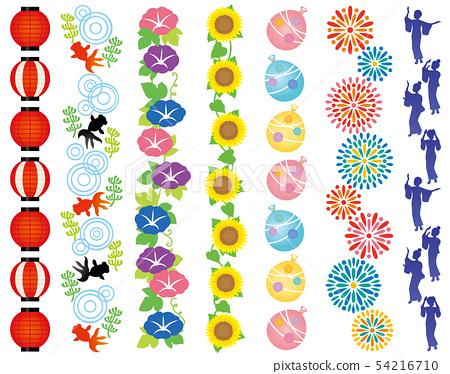 일본의 여름 여름 축제 윤무 불꽃 놀이 광고 일러스트 54216710