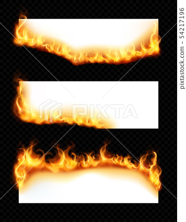 Burning Paper Banners Realistic Set 54217196