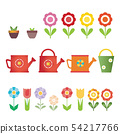 Set of vector flowers, pots and water cans, 54217766