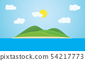 Tropical island with green hills, in the sea, 54217773