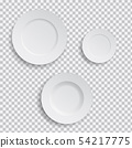 Set of realistic white plates on transparent 54217775