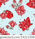 Cactus greenery bloom red summer pattern. Contrast 54221508
