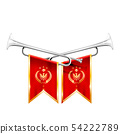 Two crossed royal trumpets, silver horn, triumph 54222789