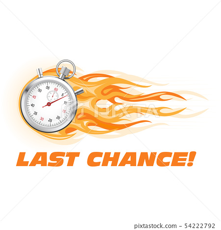 Last chance, hurry up - burning stopwatch icon, 54222792