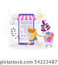 Woman with shopping trolley, bags and gifts. 54223487