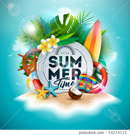 Vector Summer Time Holiday Illustration with Flower and Tropical Palm Leaves on Ocean Blue 54224115