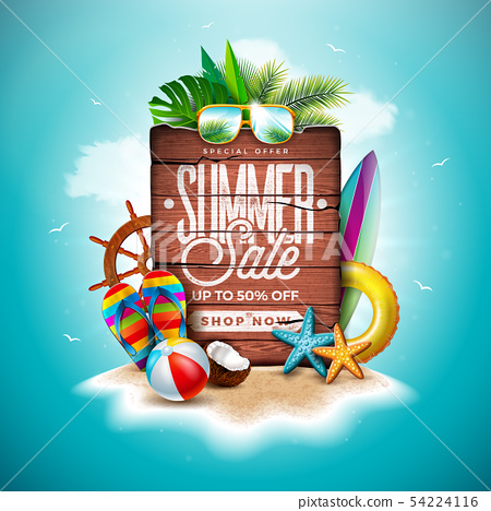 Summer Sale Design with Exotic Palm Leaves and Vintage Wood Board on Tropical Island Background 54224116