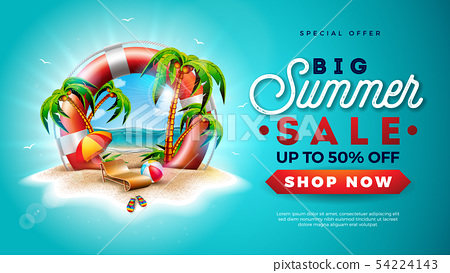 Summer Sale Design with Lifebelt and Exotic Palm Trees on Tropical Island Background. Vector Special 54224143