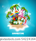 Vector Summertime Holiday Illustration with Ice Cream, Flip-Flop and Tropical Palm Trees on Ocean 54224164