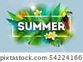 Summer Holiday Illustration with Flower and Toucan Bird on Blue Background. Vector Tropical Holiday 54224166