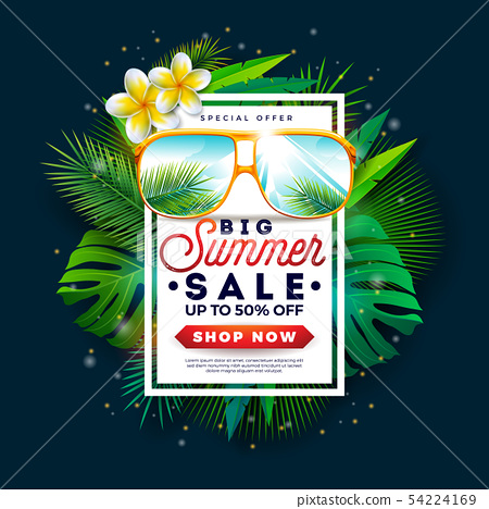 Summer Sale Design with Sunglasses and Exotic Palm Leaves on Tropical Island Background. Vector 54224169