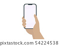 hand holding smart phone with blank screen isolate 54224538