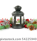 Bright ornaments, hand lantern and spruce branches 54225940