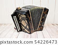 Accordion with unrolled furs. Russian folk musical 54226473