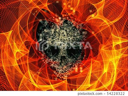 추상적 인 두개골과 불꽃 54228322