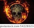 추상적 인 두개골과 불꽃 54228323