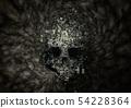 어둠에 떠있는 섬뜩한 해골 54228364