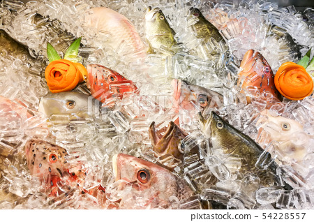 Fish covered with ice in market. Clear eyes denote 54228557
