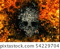 추상적 인 두개골과 불꽃 54229704