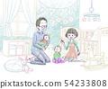 아기와 행복한 가족 (배경 수) 54233808