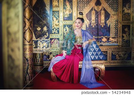Beautiful woman in traditional dress costume,Asian 54234948