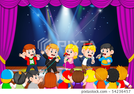 the children are singing and their friends  54236457
