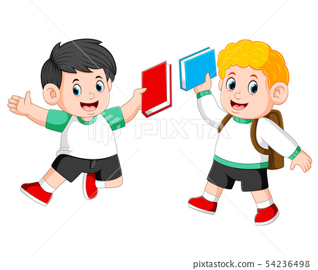 the children are holding their book and jumping  54236498