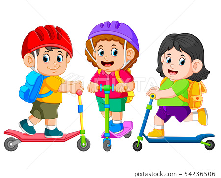 going to school together with the kick scooter 54236506
