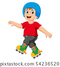 playing the roller skates and using the helmet 54236520