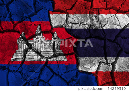 Cambodia VS Thailand flag painting on cracked 54239510
