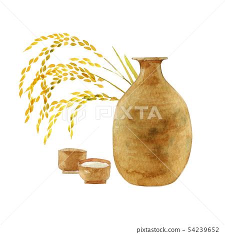 Japanese sake and rice, Inoguchi and Sake bottle illustration watercolor 54239652