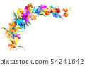 Oil painting flower and leaf on white background 54241642