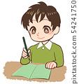 採取筆記綠色筆記的孩子 54241750
