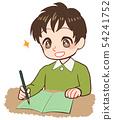 採取筆記綠色筆記的孩子 54241752