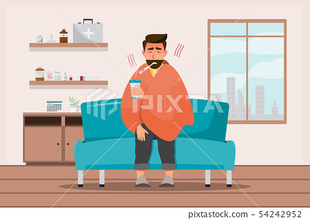 sick man having a cold sit in the room 54242952