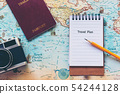 Top view of Traveler notepad for planning travel 54244128