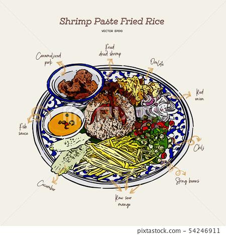 thai fried rice with shrimp paste, khao kluk kapi. 54246911