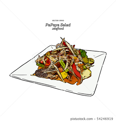 papaya salad or som-tum , thai food. hand draw 54246919